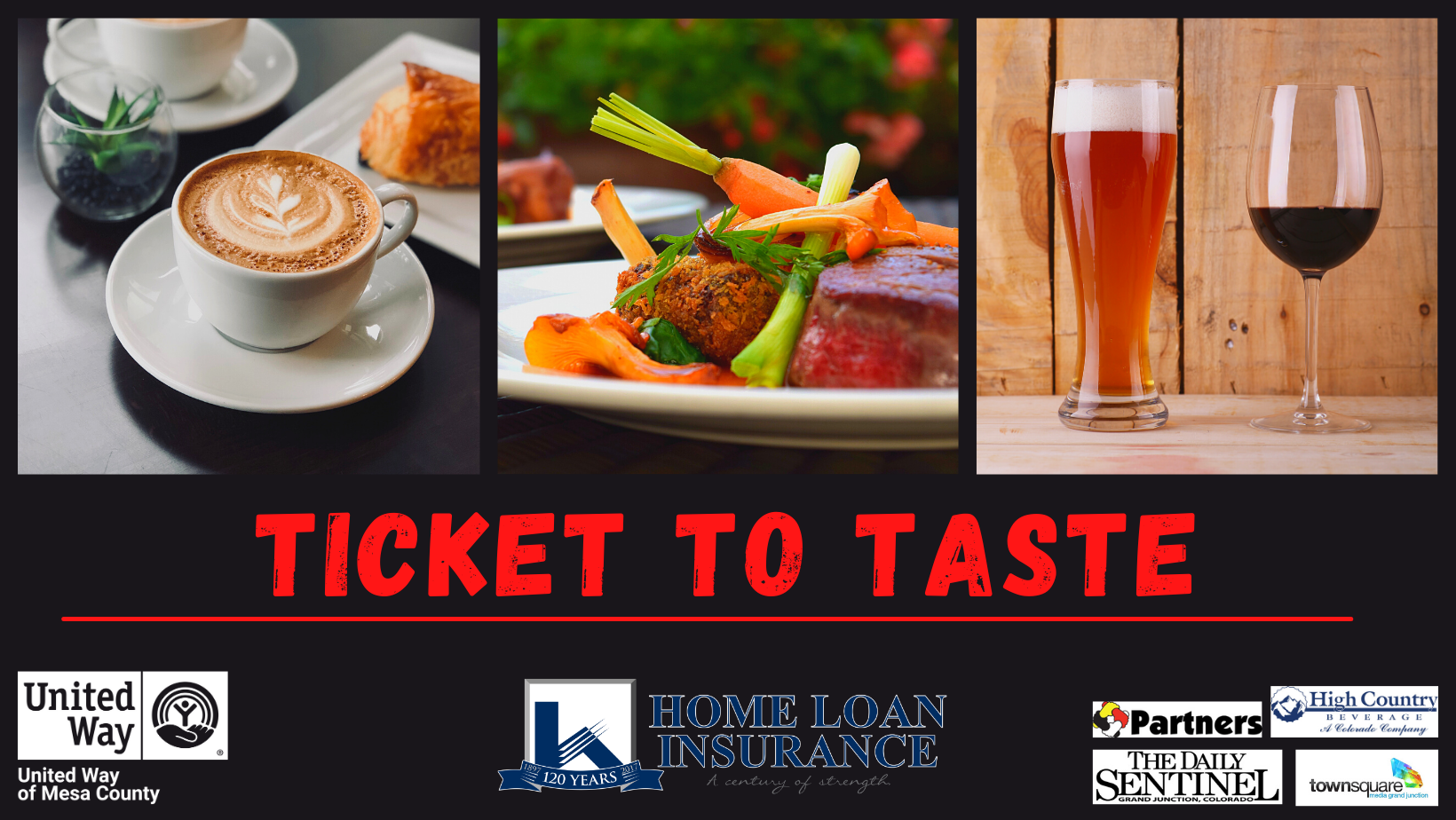 Ticket to Taste cover photo with sponsors